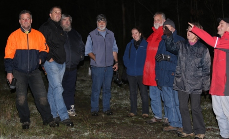 Shows volunteers who turned up to glimpse or hear an owl call at the Crinigan Bushland Reserve
