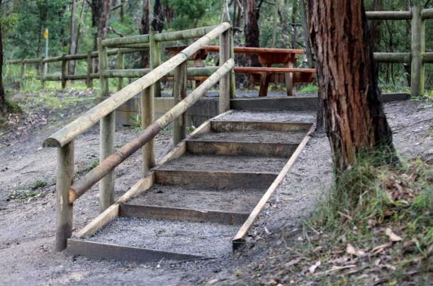 Shows new set of stairs at Duck Point, built by students from Kurnai College, Edward Hunter Heritage Bush Reserve