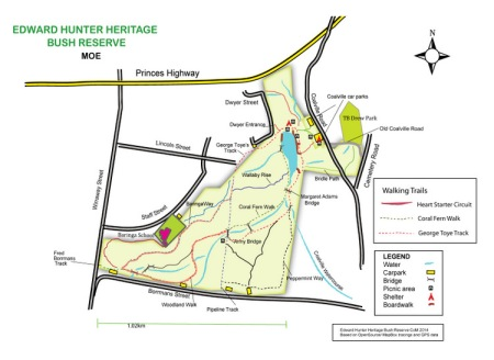 Shows image of May draft of map. Edward Hunter Heritage Bush Reserve