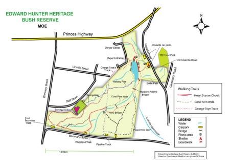 Shows image of May draft of map. Edward Hunter Heritage Bush Reserve